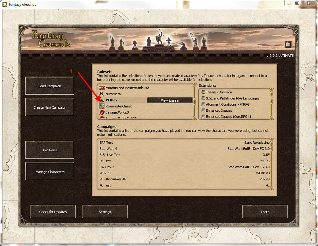 Manage Characters PFRPG